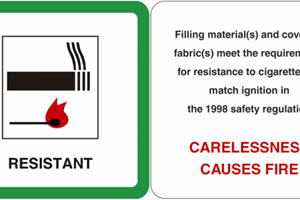 Headboard safety label